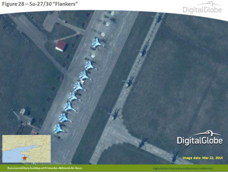 Russische gevechtsvliegtuigen nabij de grens met Oekraïne. Beeld ap