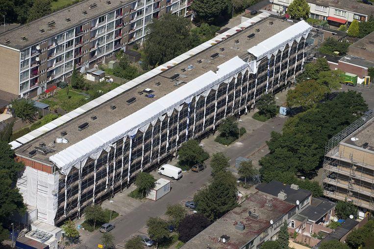 De flats in de Utrechtse 'krachtwijk' Kanaleneiland waar eerder dit jaar asbest werd gesignaleerd. Beeld ANP