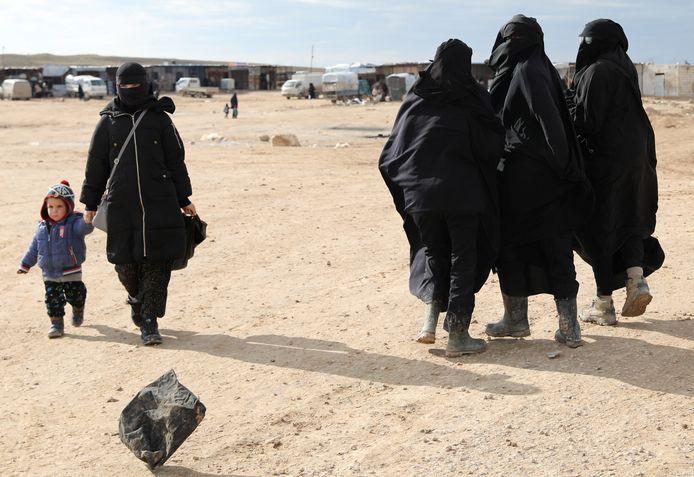 Vrouwelijke IS-gedetineerden in Al Hol kamp in Syrië, in januari van dit jaar.