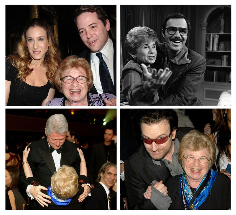 Ruth Westheimer op de foto met met Sara Jessica Parker (linksboven), Matthew Broderick (rechtsboven), Bill Clinton (linksonder) en Bono Vox (rechtsonder).