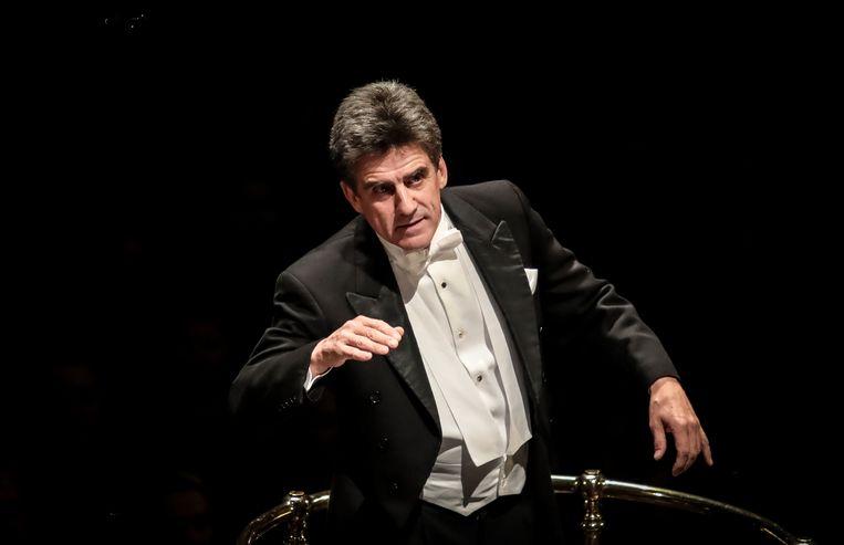 Dirk Brossé valt in voor John Williams, als dirigent van het London Symphony Orchestra in de Londense Royal Albert Hall. Beeld RV/Christie Goodwin