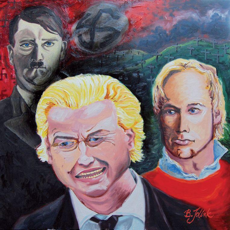 Een schilderij dat Bennie Jolink van de Achterhoekse rockband Normaal heeft gemaakt van Geert Wilders samen met Hitler en de Noorse terrorist Breivik. Op de achtergrond zijn graven en een hakenkruis te zien. Beeld null