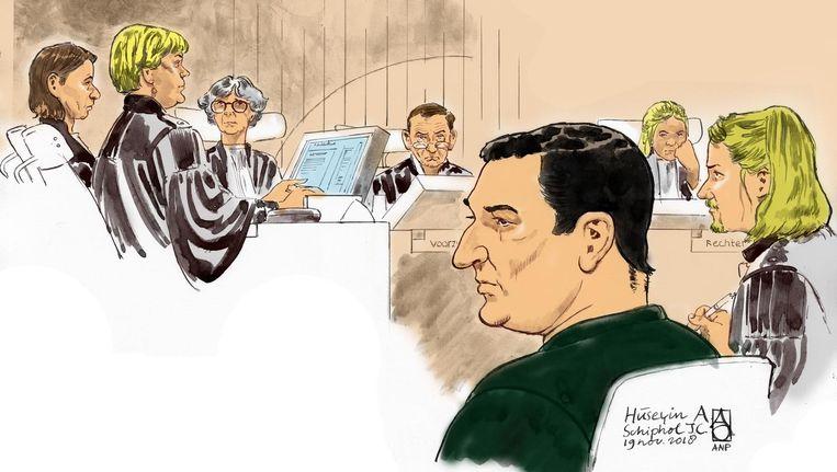 Rechtbanktekening tijdens de behandeling van de strafzaak Beeld anp