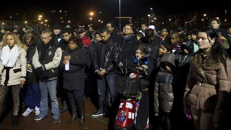 Hindostanen in Den Haag bij de herdenking van Rishi, de jongen die gedood werd door een politiekogel. Beeld anp