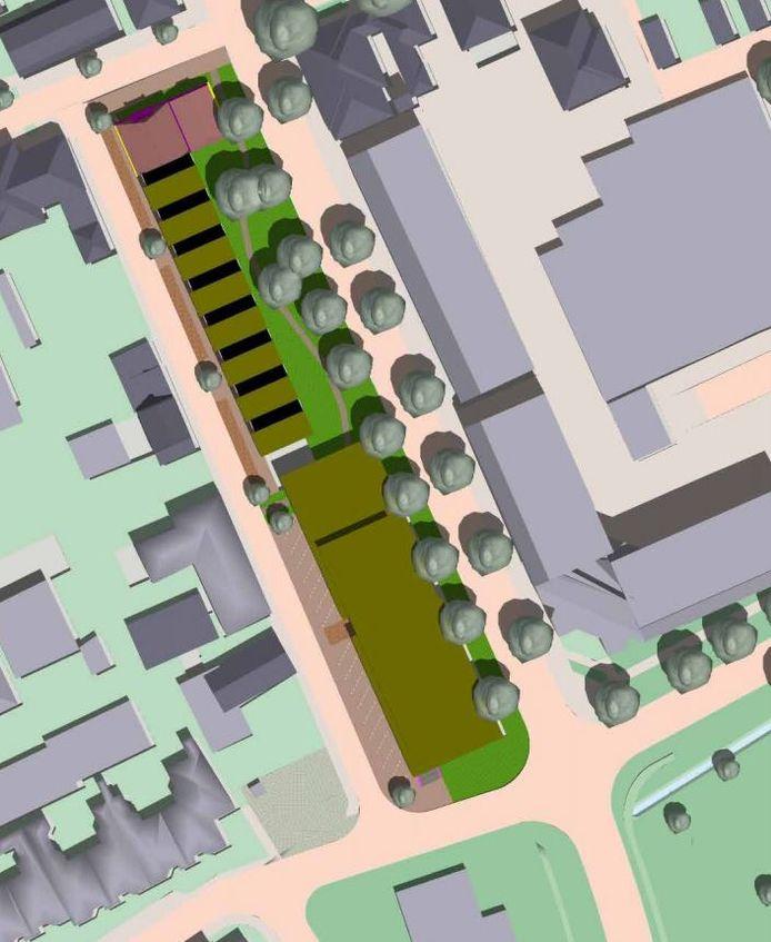 Bovenaanzicht nieuwbouwplan kartonnagefabriek aan de Baerdijk (Kerkstraat aan de noordzijde)