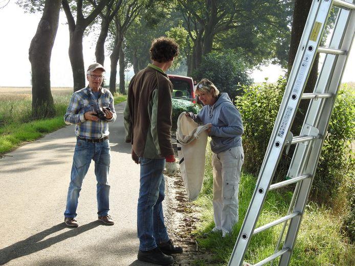Marjo van Kreij (r) inspecteert jonge Boomvalkjes.