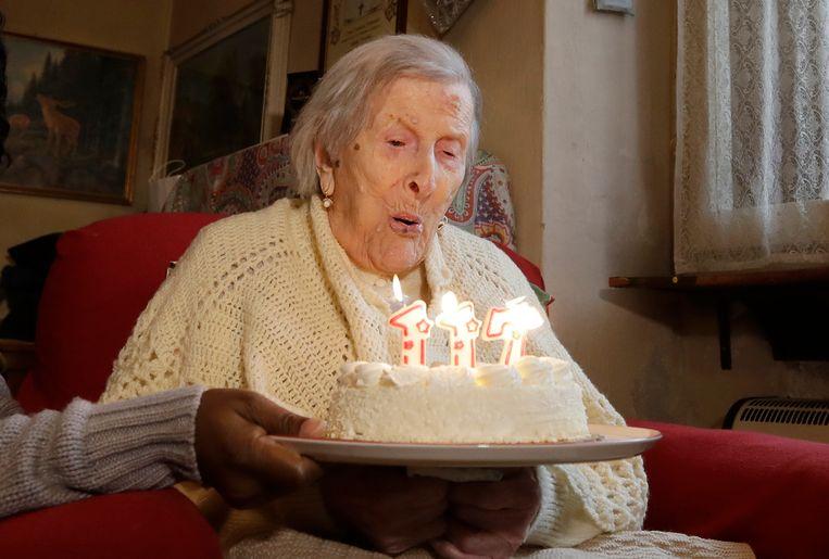 Emma Morano op haar 117de verjaardag, in 2016. Beeld AP