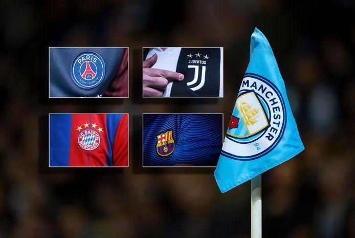 De logo's van Manchester City, Juventus, Bayern München, Paris Saint-Germain en FC Barcelona.