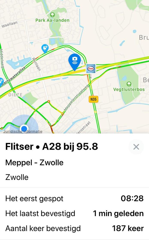 Melding van de 'flitspaal' op flitsmeister.nl. 187 mensen bevestigen de melding.