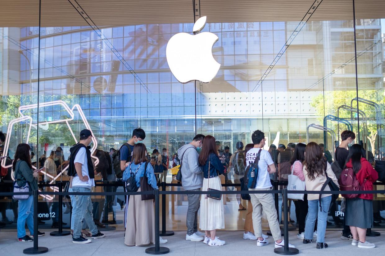 Apple presenteert de producten het liefst in winkels met heel veel glas Beeld SOPA Images/LightRocket via Gett