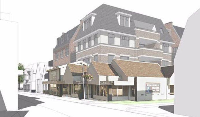 Met deze impressie ligt het ontwerpbestemmingsplan voor het 14 meter hoge appartementencomplex ter inzage bij de gemeente Rijssen-Holten.