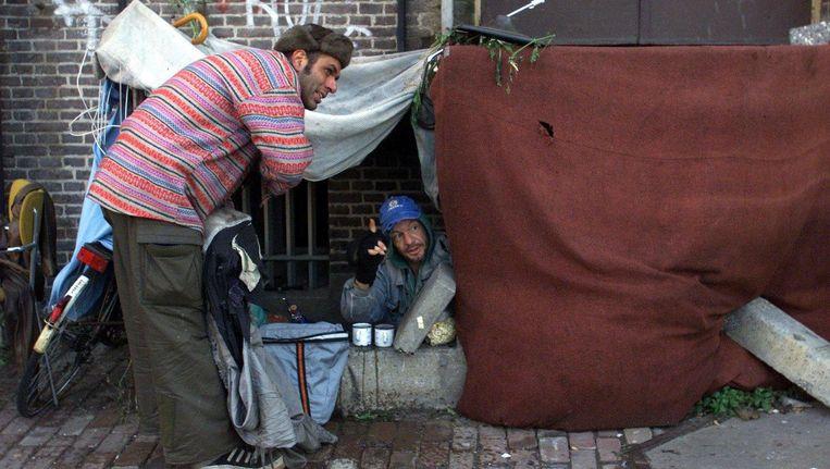 Daklozen in Amsterdam. Beeld anp