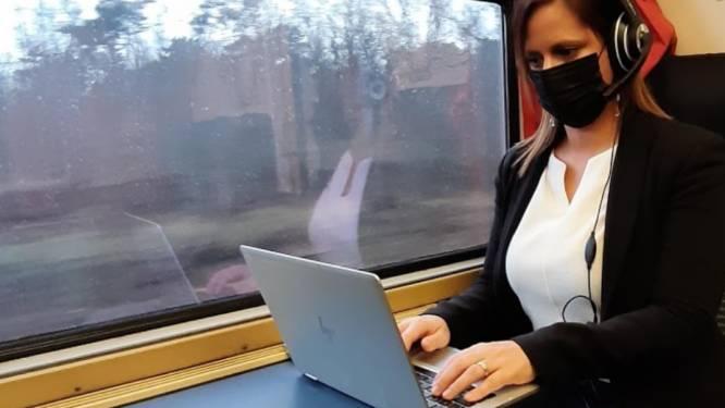 """Marianne Verhaert tevreden over aanpak NMBS om mobiel bereik te verbeteren: """"Onderweg kunnen werken is aanmoediging om de trein te gebruiken"""""""