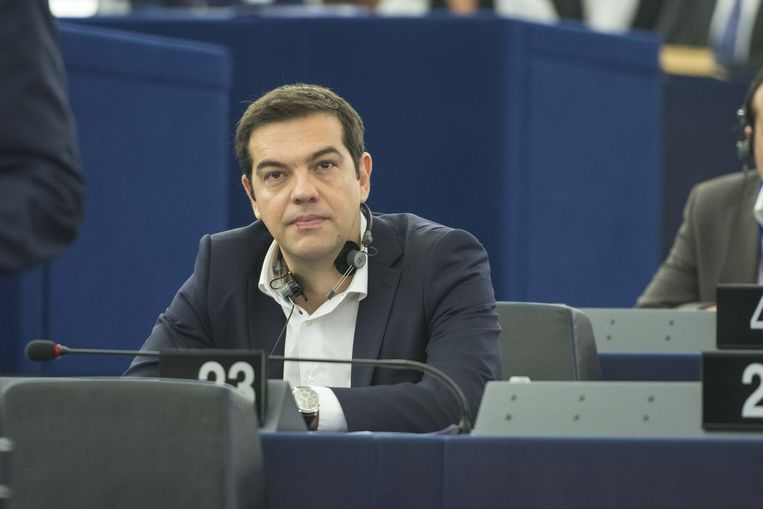 Premier Alexis Tsipras gisteren in het Europees Parlement in Straatsburg Beeld PHOTO_NEWS