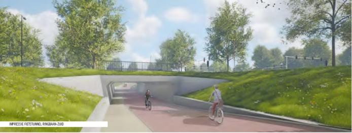 De vijver bij zwembad Stappegoor verdwijnt voor de fietstunnel.