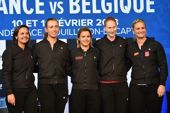 Dominique Monami, Elise Mertens, Kirsten Flipkens, Alison Van Uytvanck en Ysaline Bonaventure.