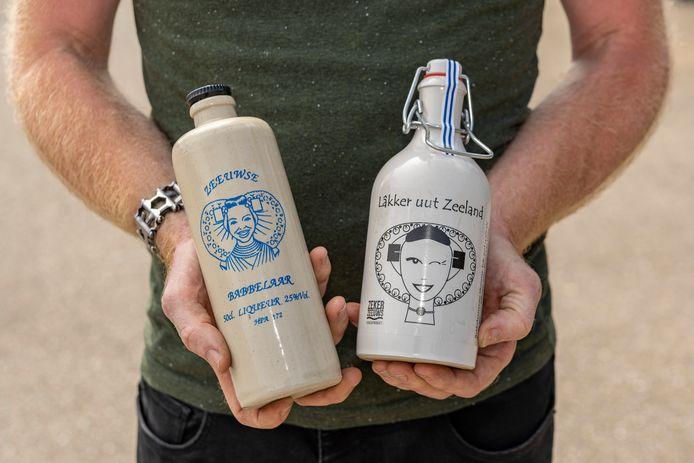 Bruinisse, Kampen Drinks, Zeeuwse streekproducten, verslaggever Frank Balkenende, rechts gecertificeerd streekproduct met Zeker Zeeuws logo, links product niet uit Zeeland