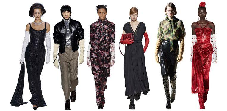 Vanaf links: Marc Jacobs, Dries Van Noten, Giambattista Valli, Valentino, Saint Laurent, Rodarte Beeld Imaxtree