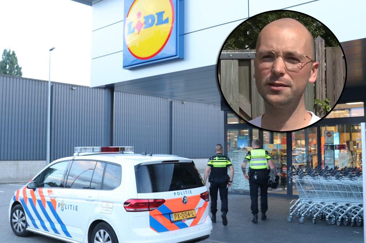 Dankzij omwonende Rens (inzet) kon de politie razendsnel de verdachte van de overval op de Lidl arresteren.