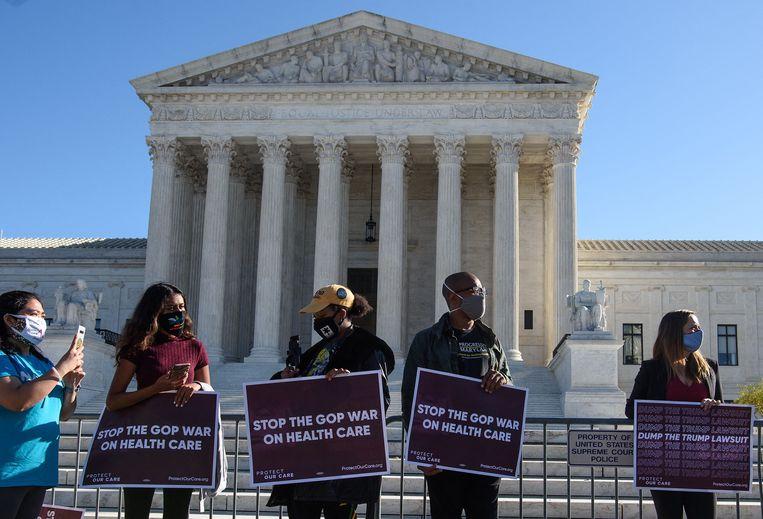 Demonstranten voor het Amerikaanse Hooggerechtshof in Washington DC. Beeld AFP