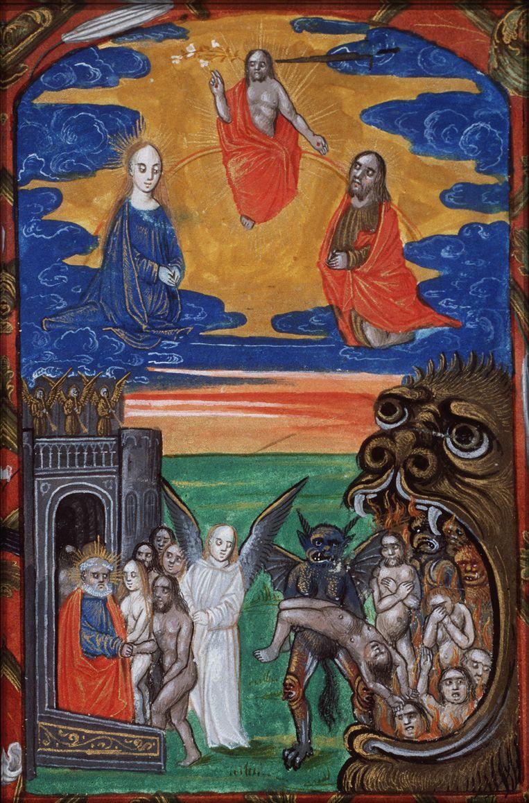 Het Laatste Oordeel: wie mag door naar de hemel, wie moet naar de hel; illustratie uit een getijdenboek uit circa 1490. Beeld Koninklijke Bibliotheek Den Haag