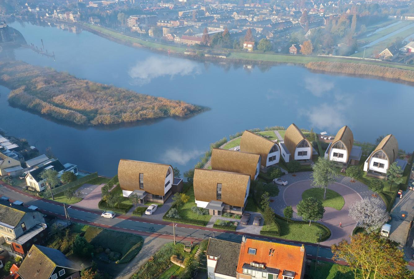 Artist's impression HoogTij vanuit de lucht. Het doet wel wat denken aan her dorpje van Asterix en Obelix.