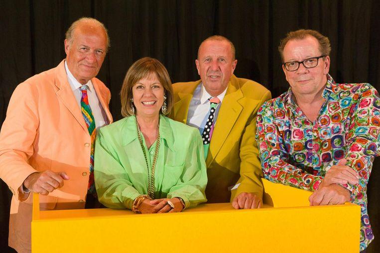 De originele panelleden Jacques Vermeire, Gerty Christoffels en Walter Grootaers en presentator Kurt Van Eeghem (tweede rechts). Beeld PN / James Arthur Gekiere