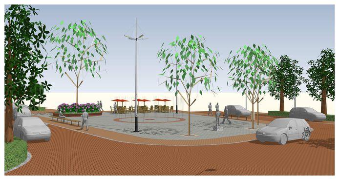 Ontwerp van het nieuwe Molenplein dat, afhankelijk van het weer, in januari 2020 klaar moet zijn.