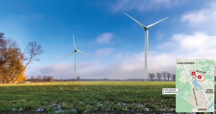 Een projectie van windmolens in het buitengebied van Spankeren, aan de Broekdijk. De plaatsing van windmolens lijkt in de gemeente Rheden alleen op deze plek kansrijk.