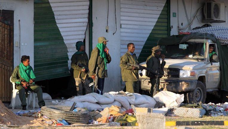 Troepen van Kadhafi in Misurata. Beeld EPA