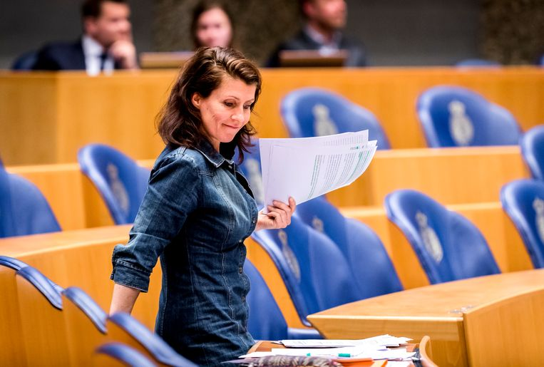 Partijleider Esther Ouwehand (PvdD) in de Tweede Kamer. Beeld Remko de Waal / ANP