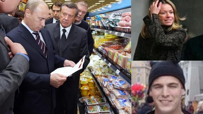 President Poetin, hier in een supermarkt in Moskou, zou in Voorschoten een bezoek aan de Albert Heijn gebracht hebben. Zijn dochter Maria (inzet rechtsboven) woont daar met de Nederlander Jorrit Fraassen (inzet rechtsonder).