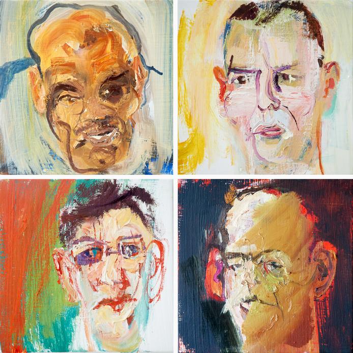 Kunstschilder Henk Hage uit Beuningen maakt portretten van bewoners van de longstay-afdeling van de Pompekliniek.