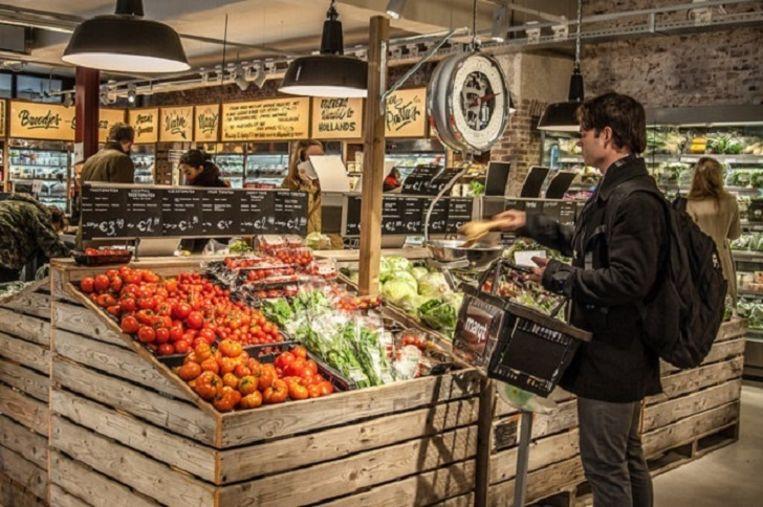 De groenteafdeling van een Marqt-winkel in Amsterdam. Beeld