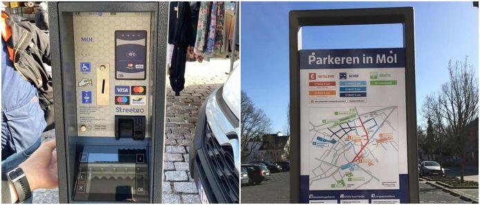 De nieuwe parkeermeters en borden in Mol.