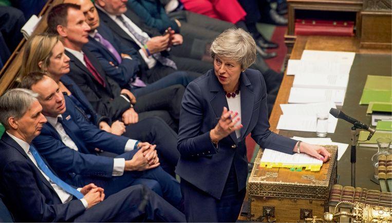 Lia van Bekhoven: 'Theresa May hoeft geen steun van Labour te verwachten: die rekent erop dat de brexit tot rellen bij de bevolking leidt, waarna een Labour-regering en een socialistische heilstaat het licht zien.' Beeld