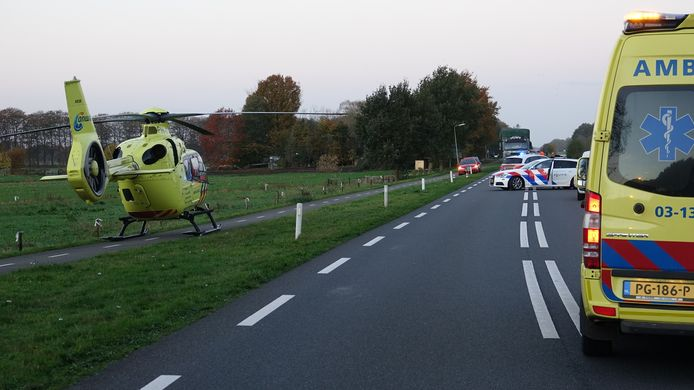 De traumahelikopter landde ter assistentie.