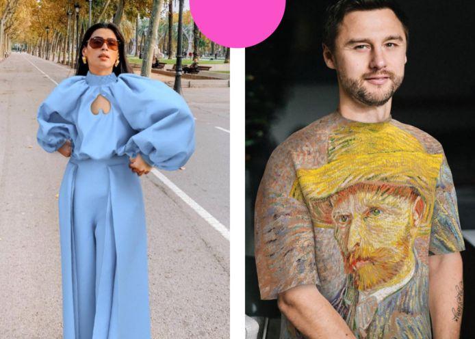 Twee mode-influencers die 'virtuele kledingstukken' dragen, op hun lijf gefotoshopt.