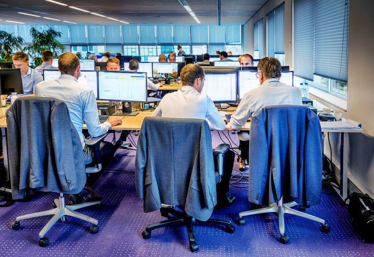 De afdeling derivaten van de Rabobank in Hilversum.  Beeld Raymond Rutting / de Volkskrant