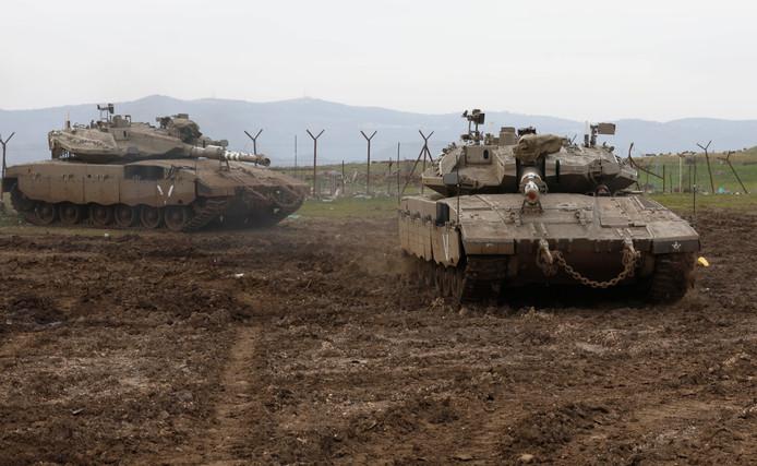 Israëlische tanks op de Golan-hoogvlakte