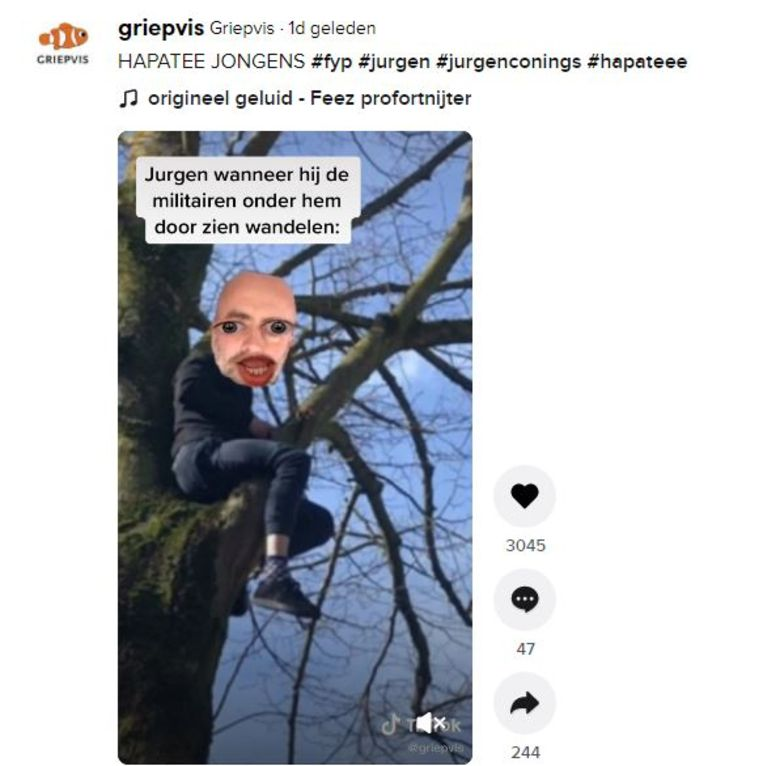 Op TikTok wordt de rechts-extremistische militair Jürgen Conings vaak afgebeeld als een grappig mannetje dat zijn tegenstanders te slim af is. Beeld TikTok