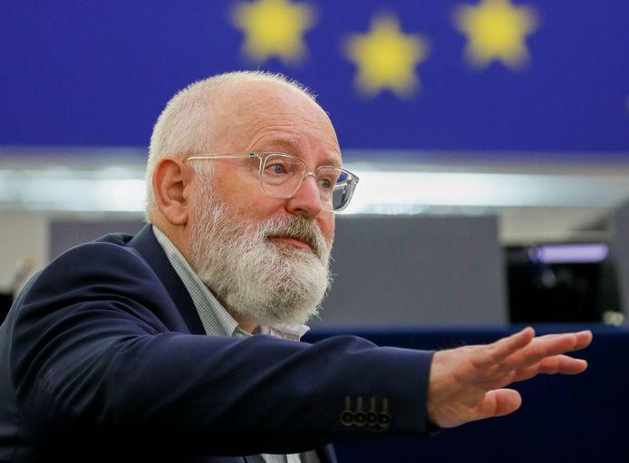 Frans Timmermans tijdens de presentatie van het 'Fit for 55'-pakket in het Europees Parlement in Straatsburg.