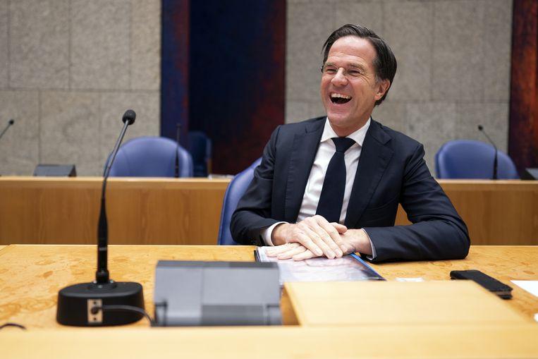 Demissionair premier Mark Rutte in de Tweede Kamer tijdens een debat over de ontwikkelingen rondom het coronavirus. Beeld ANP