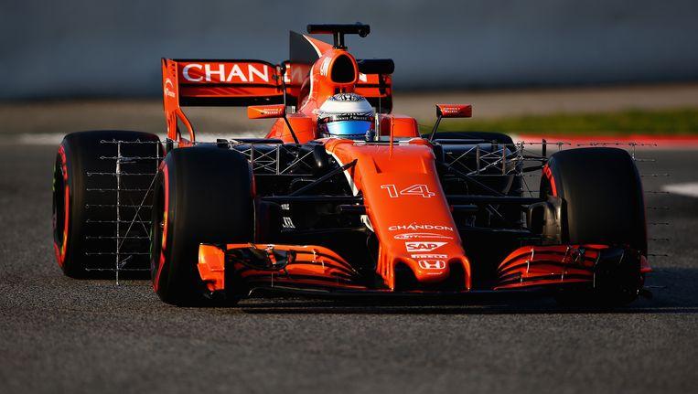 Fernando Alonso hield het met de McLaren al na één ronde voor bekeken. Beeld Getty Images