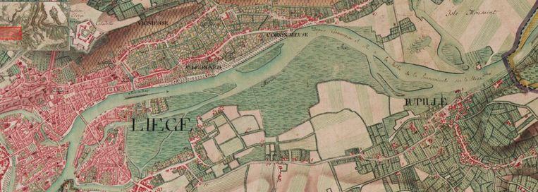 'In Luik was zowat de hele rechteroever van Outremeuse tot Jupille nat weiland dat bij hoge waterstanden onderliep.'  Beeld KBR