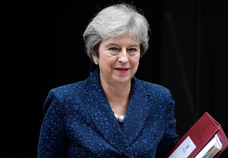 Volgens premier Theresa May zal haar voorstel voor de brexit uiteindelijk het enige alternatief blijken. Beeld REUTERS