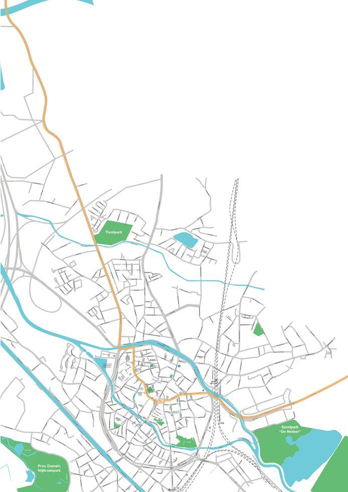 Een kaart van het parcours van het WK Wielrennen in Mechelen.