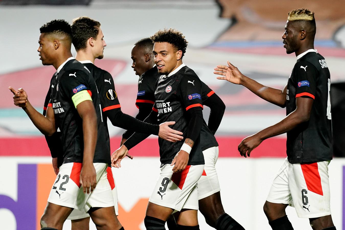Donyell Malen was de matchwinner voor PSV tegen Granada.