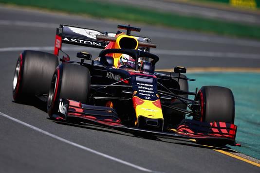 Max Verstappen in zijn RB15 tijdens de eerste vrije training voor de Grand Prix van Australië in Melbourne.