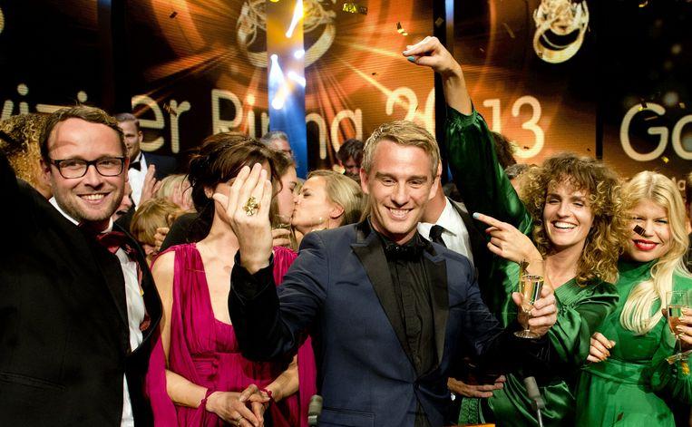 Art Rooijakkers van Wie is de Mol? na het winnen van de Televizier-Ring in 2013. Beeld anp